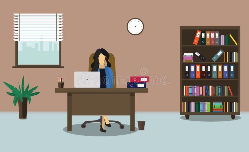 Επιχειρησιακή γυναίκα που μιλά στο τηλέφωνο στην αρχή επίσης corel σύρετε το διάνυσμα απεικόνισης διανυσματική απεικόνιση