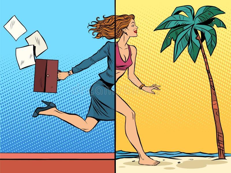 Επιχειρησιακή γυναίκα που ονειρεύεται για τις διακοπές εν πλω ελεύθερη απεικόνιση δικαιώματος