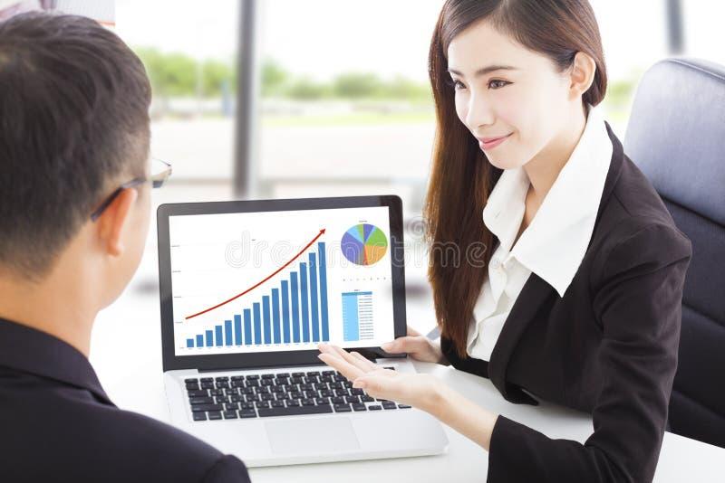 Επιχειρησιακή γυναίκα που παρουσιάζει στο χρηματιστήριο οικονομική κατάσταση στοκ φωτογραφία