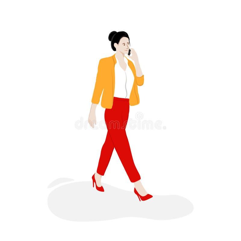 Επιχειρησιακή γυναίκα που περπατά στην οδό με το τηλέφωνο Το σύγχρονο επίπεδο βάζει την απεικόνιση Διανυσματική απεικόνιση τρόπου απεικόνιση αποθεμάτων