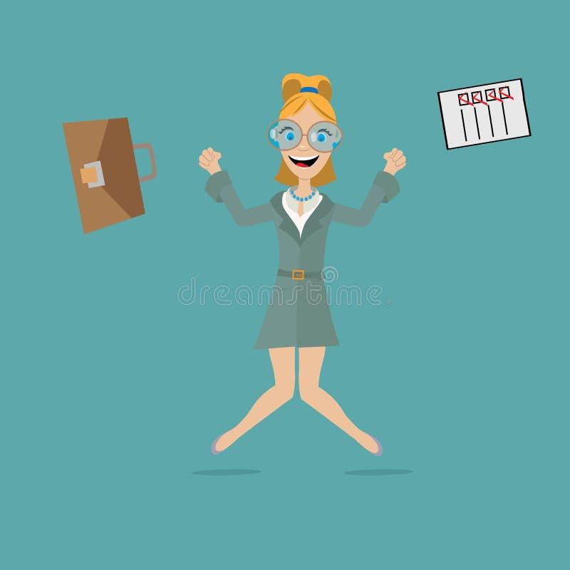 Επιχειρησιακή γυναίκα που πηδά για τη χαρά ελεύθερη απεικόνιση δικαιώματος