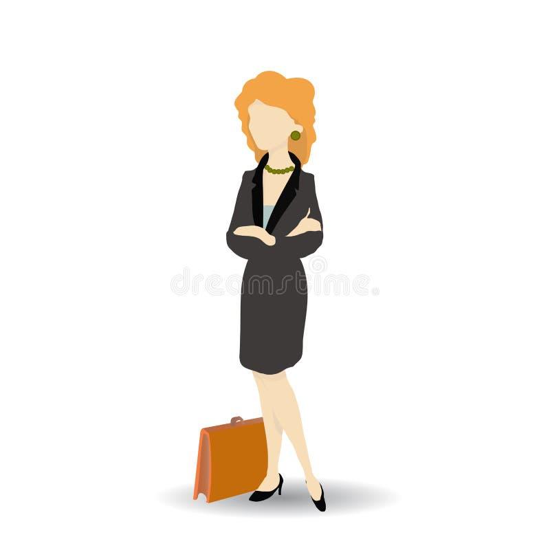 Επιχειρησιακή γυναίκα που φορά το μαύρο κοστούμι Απομονωμένος στο λευκό διανυσματική απεικόνιση