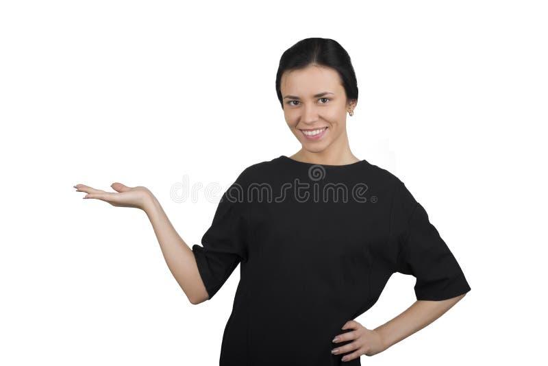 Επιχειρησιακή γυναίκα σε μια άσπρη ανασκόπηση στοκ εικόνες