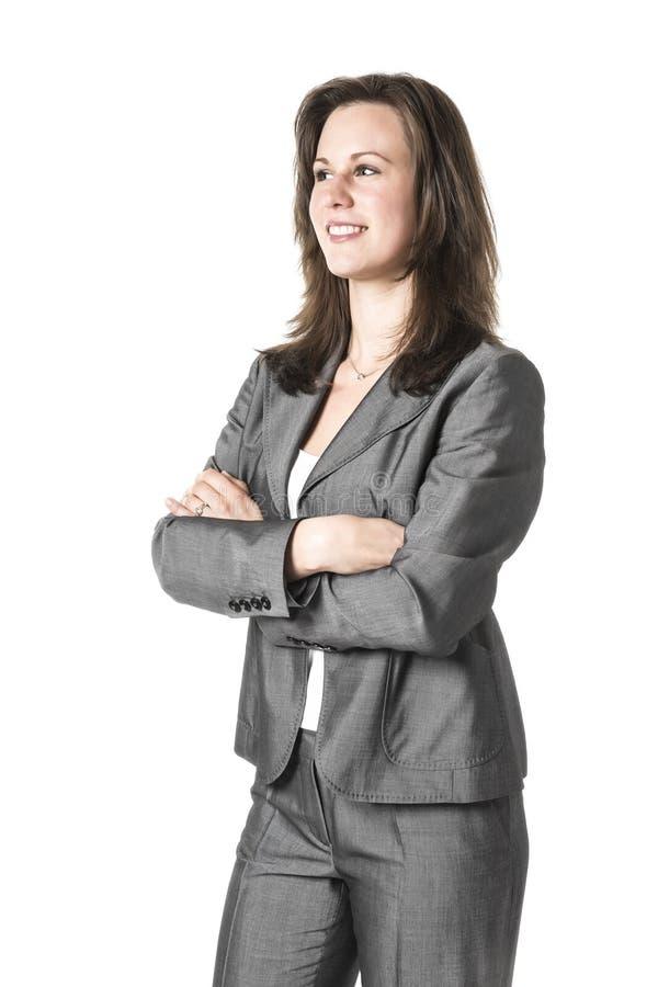 Επιχειρησιακή γυναίκα στο γκρίζο κοστούμι στοκ φωτογραφίες με δικαίωμα ελεύθερης χρήσης