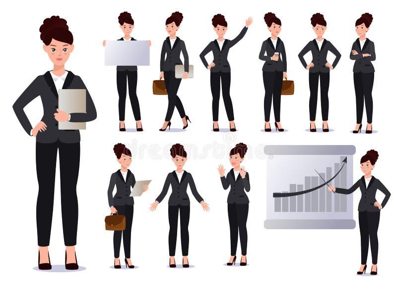 Επιχειρησιακή γυναίκα στο σύνολο κοστουμιών συγκινήσεις θέτει στοκ εικόνες με δικαίωμα ελεύθερης χρήσης
