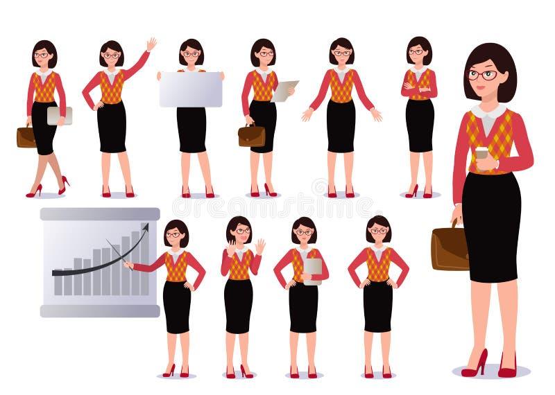 Επιχειρησιακή γυναίκα στο σύνολο κοστουμιών συγκινήσεις θέτει στοκ εικόνες