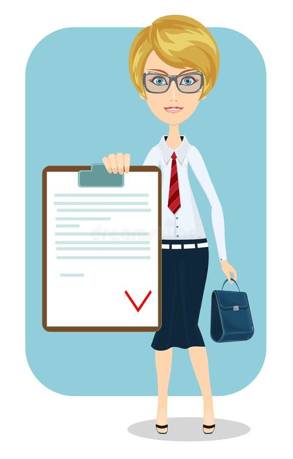 Επιχειρησιακή γυναίκα, σύμβαση. ελεύθερη απεικόνιση δικαιώματος