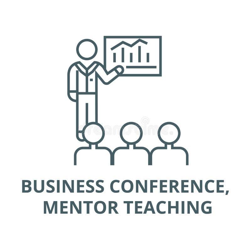 Επιχειρησιακή διάσκεψη, εικονίδιο γραμμών διδασκαλίας συμβούλων, διάνυσμα Επιχειρησιακή διάσκεψη, σημάδι περιλήψεων διδασκαλίας σ διανυσματική απεικόνιση