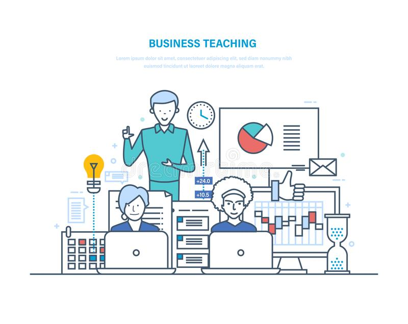 Επιχειρησιακή διδασκαλία Επαγγελματικές επιχειρησιακές καταρτίσεις, σεμινάρια, εταιρική κατάρτιση, διαβούλευση διανυσματική απεικόνιση