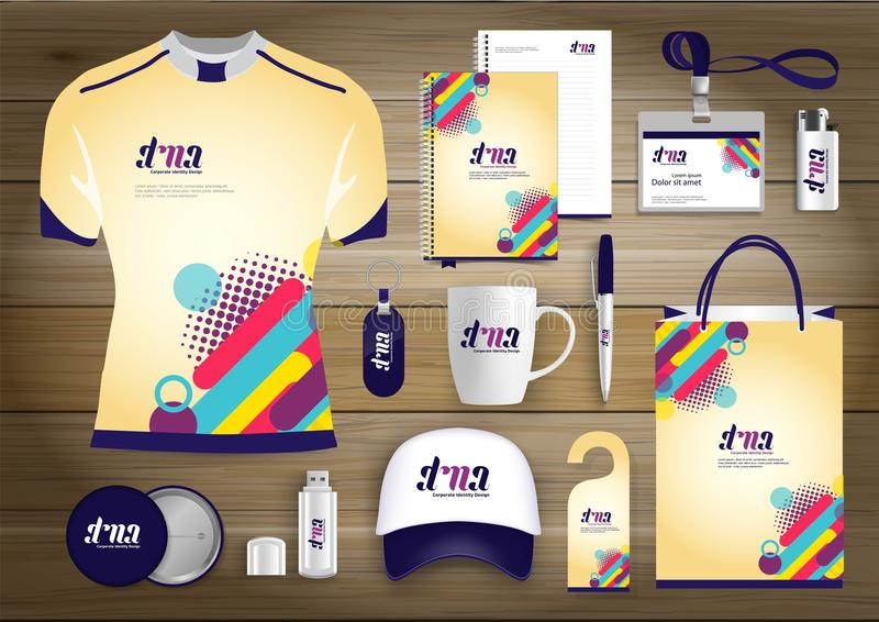 Επιχειρησιακή εταιρική ταυτότητα στοιχείων δώρων, διανυσματικό αφηρημένο σχέδιο αναμνηστικών χρώματος προωθητικό με τα στοιχεία o ελεύθερη απεικόνιση δικαιώματος