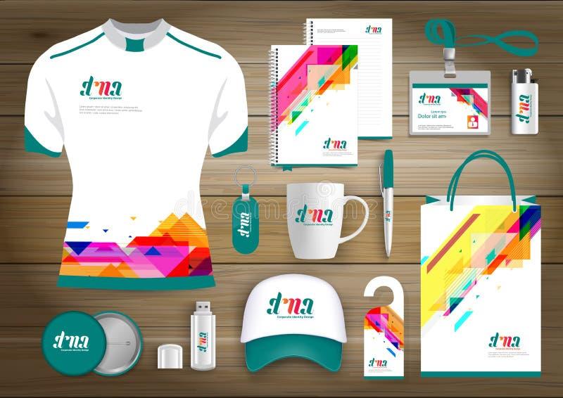 Επιχειρησιακή εταιρική ταυτότητα στοιχείων δώρων, διανυσματικό αφηρημένο σχέδιο αναμνηστικών χρώματος προωθητικό με τα στοιχεία o απεικόνιση αποθεμάτων