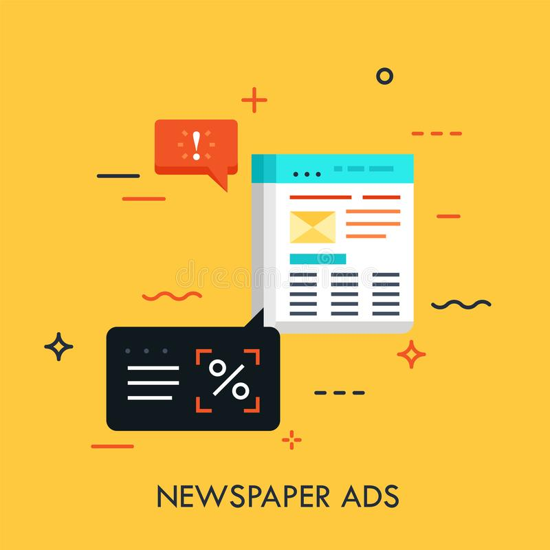 Επιχειρησιακή εφημερίδα με τις διαφημίσεις και τις λεκτικές φυσαλίδες Ανακοίνωση στο περιοδικό, έννοια μεθόδου μάρκετινγκ διανυσματική απεικόνιση