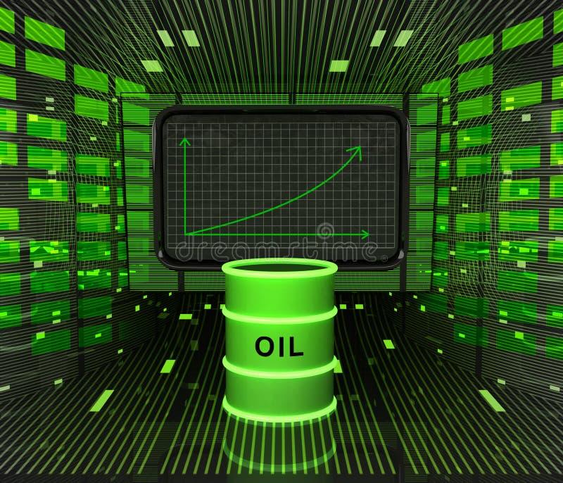 Επιχειρησιακή θετική γραφική παράσταση προβλεπόμενη ή αποτελέσματα στη βιομηχανία καυσίμων απεικόνιση αποθεμάτων
