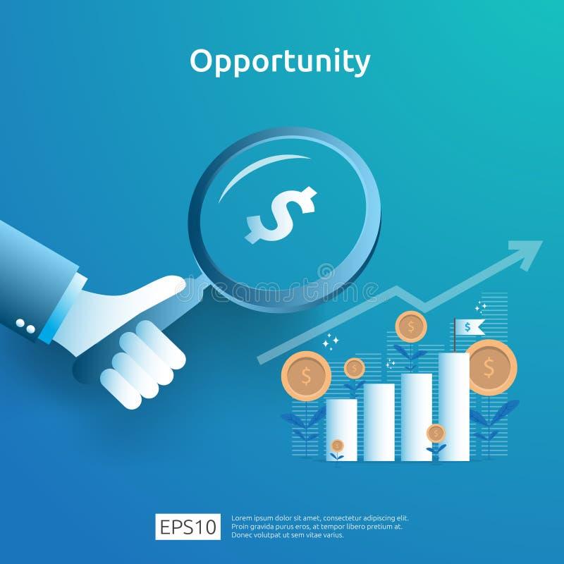 επιχειρησιακή ιδέα αναλυτική και ερευνητική έννοια ευκαιρίας με αύξησης διάγραμμα και την ενίσχυση αύξησης το γραφικό - γυαλί σε  απεικόνιση αποθεμάτων