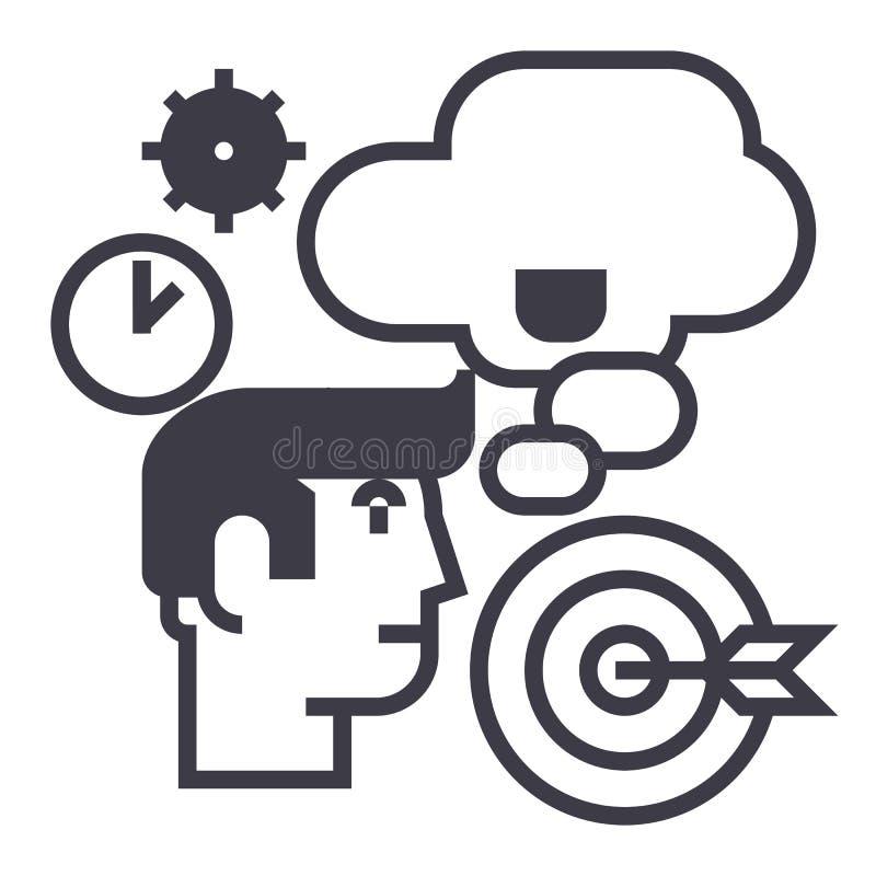 Επιχειρησιακή ιδέα, καταιγισμός ιδεών, στόχος στόχων, χρόνος, διανυσματικό εικονίδιο γραμμών ατόμων σκέψης, σημάδι, απεικόνιση σχ απεικόνιση αποθεμάτων