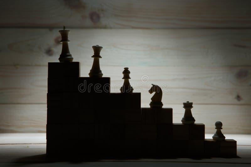 Επιχειρησιακή ιεραρχία Έννοια στρατηγικής με τα κομμάτια σκακιού στοκ εικόνες με δικαίωμα ελεύθερης χρήσης