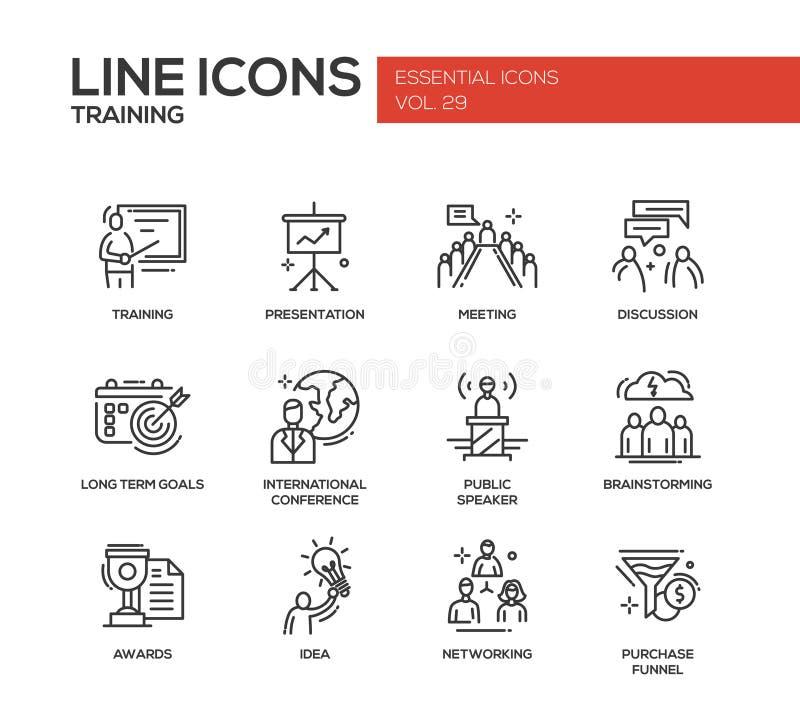 Επιχειρησιακή κατάρτιση - εικονίδια σχεδίου γραμμών καθορισμένα διανυσματική απεικόνιση