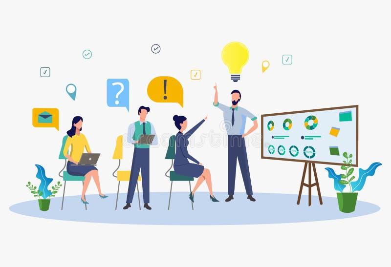 Επιχειρησιακή κατάρτιση, σχέδιο αγοράς, επιλογή για την εργασία, ανάλυση των δημιουργικών λύσεων, ανάπτυξη προσωπικού διανυσματική απεικόνιση