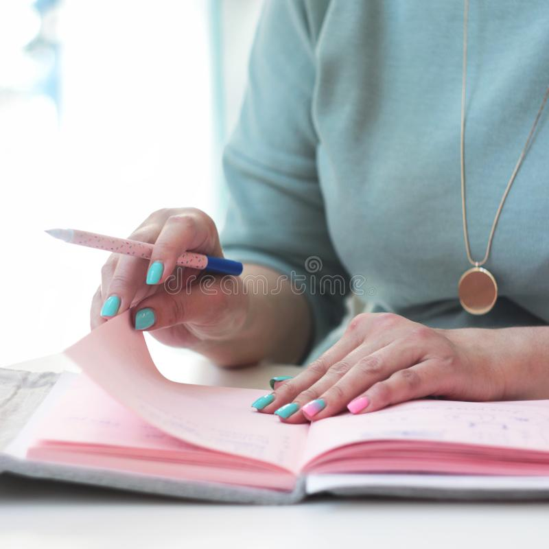 Επιχειρησιακή κυρία με μια μάνδρα και ένα σημειωματάριο στοκ φωτογραφίες με δικαίωμα ελεύθερης χρήσης