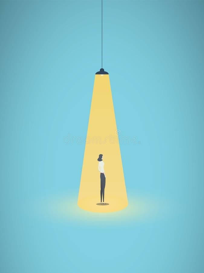 Επιχειρησιακή μίσθωση και διανυσματική έννοια στρατολόγησης με τη επιχειρηματία που στέκεται στο φωτεινό κίτρινο επίκεντρο Σύμβολ απεικόνιση αποθεμάτων