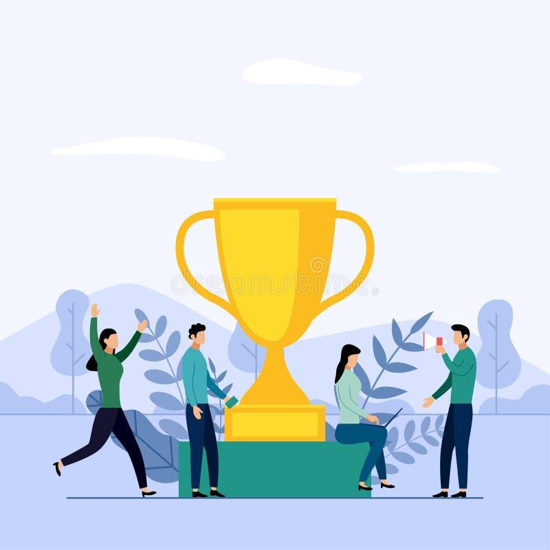 Επιχειρησιακή ομάδα και ανταγωνισμός, επίτευγμα, επιτυχές, πρόκληση διανυσματική απεικόνιση