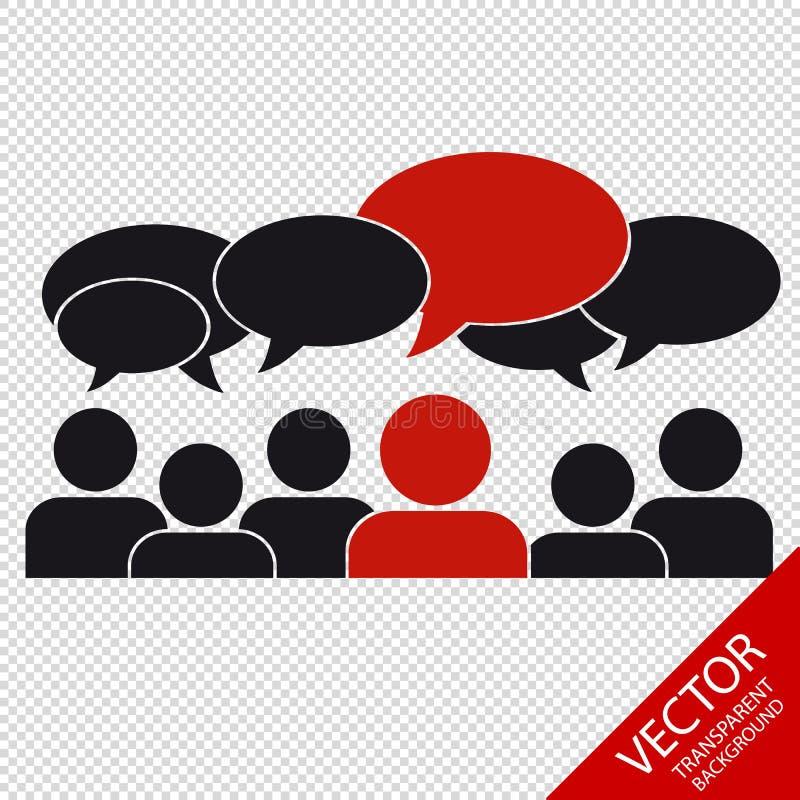 Επιχειρησιακή ομάδα με τις λεκτικές φυσαλίδες - κοινωνικά μέσα - που απομονώνονται στο διαφανές υπόβαθρο απεικόνιση αποθεμάτων