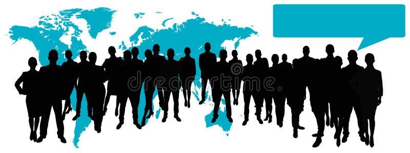 Επιχειρησιακή ομάδα μπροστά από τον παγκόσμιο χάρτη ελεύθερη απεικόνιση δικαιώματος