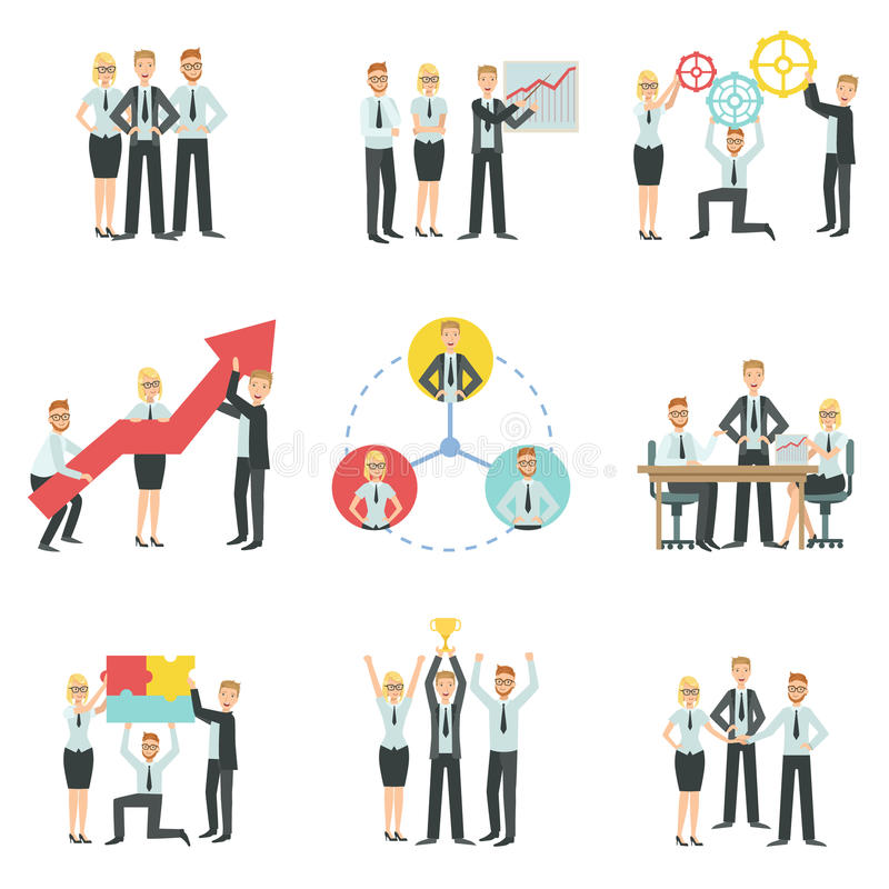 Επιχειρησιακή ομάδα που απασχολείται μαζί στη διαδικασία Infographic επιτεύγματος διανυσματική απεικόνιση