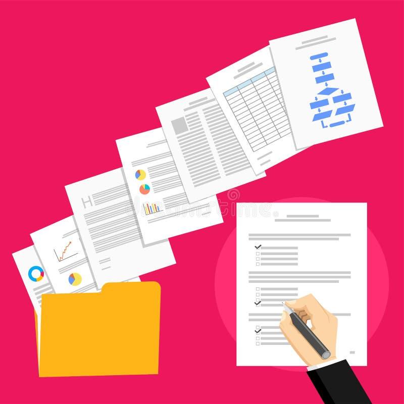 Επιχειρησιακή πρόταση και επιχειρησιακή συμφωνία Το επιχειρησιακό πρόσωπο υπογράφει μια συμφωνία απεικόνιση αποθεμάτων