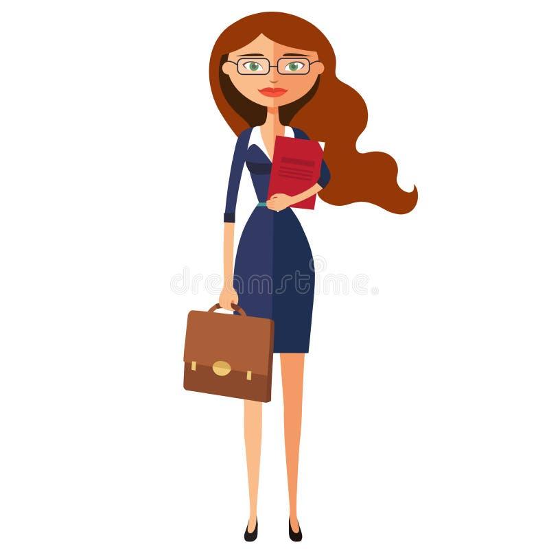 Επιχειρησιακή πυρόξανθη γυναίκα με τα γυαλιά Ο εργαζόμενος γραφείων είναι έτοιμος στο W ελεύθερη απεικόνιση δικαιώματος