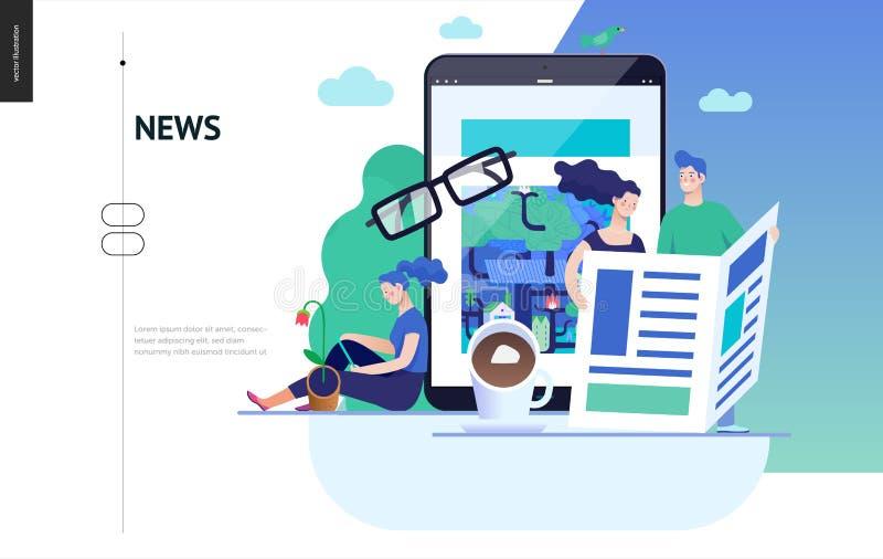 Επιχειρησιακή σειρά - ειδήσεις ή άρθρα, πρότυπο Ιστού διανυσματική απεικόνιση