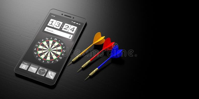 Επιχειρησιακή στρατηγική Στόχος σε μια οθόνη smartphone και βέλη στο μαύρο υπόβαθρο, έμβλημα, διάστημα αντιγράφων τρισδιάστατη απ διανυσματική απεικόνιση