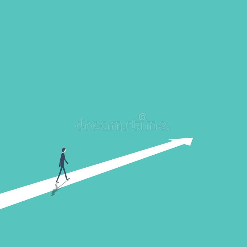 Επιχειρησιακή στρατηγική, σχέδιο, απόφαση, διανυσματική έννοια κατεύθυνσης με το περπάτημα επιχειρηματιών προς τα εμπρός στην επι διανυσματική απεικόνιση
