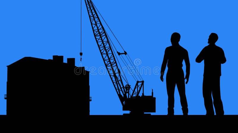 Επιχειρησιακή συνεργασία κατασκευής Πελάτης και ανάδοχος Κτηματομεσίτης και αγοραστής διανυσματική απεικόνιση