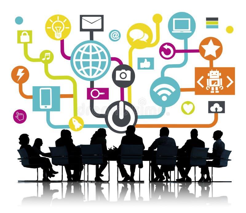 Επιχειρησιακή συνεδρίαση δικτύωσης παγκόσμιων επικοινωνιών κοινωνική on-line ελεύθερη απεικόνιση δικαιώματος