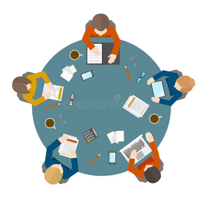 Επιχειρησιακή συνεδρίαση κατά τη τοπ άποψη διανυσματική απεικόνιση