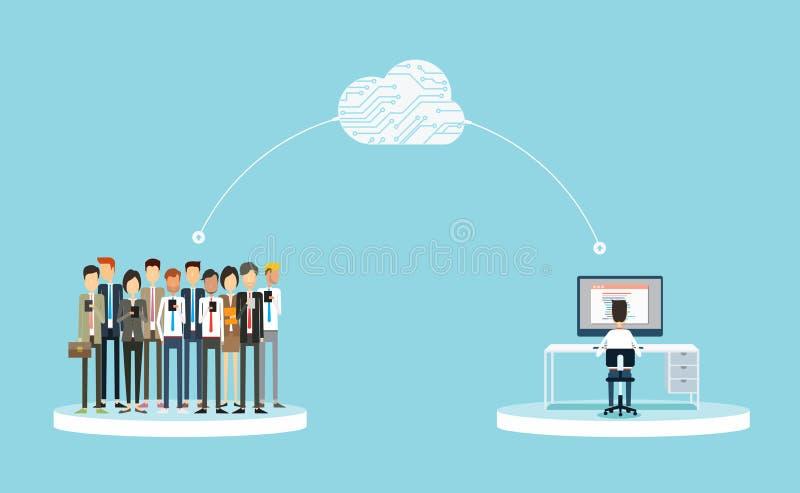 Επιχειρησιακή σύνδεση στους πελάτες στην έννοια σύννεφων επιχειρησιακές δημόσιες σχέσεις σε απευθείας σύνδεση επιχείρηση στην ένν ελεύθερη απεικόνιση δικαιώματος