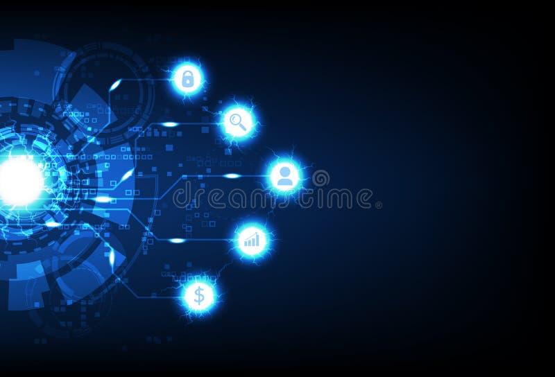 Επιχειρησιακή τεχνολογία, ψηφιακός φουτουριστικός υπολογιστής pixelate, πληροφορίες στοιχείων, σημάδι και ηλεκτρικό μπλε ελαφρύ σ ελεύθερη απεικόνιση δικαιώματος