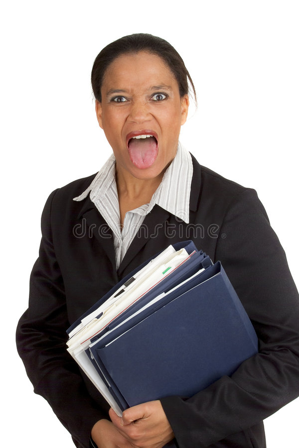 επιχειρησιακή τρελλή γυναίκα στοκ φωτογραφία