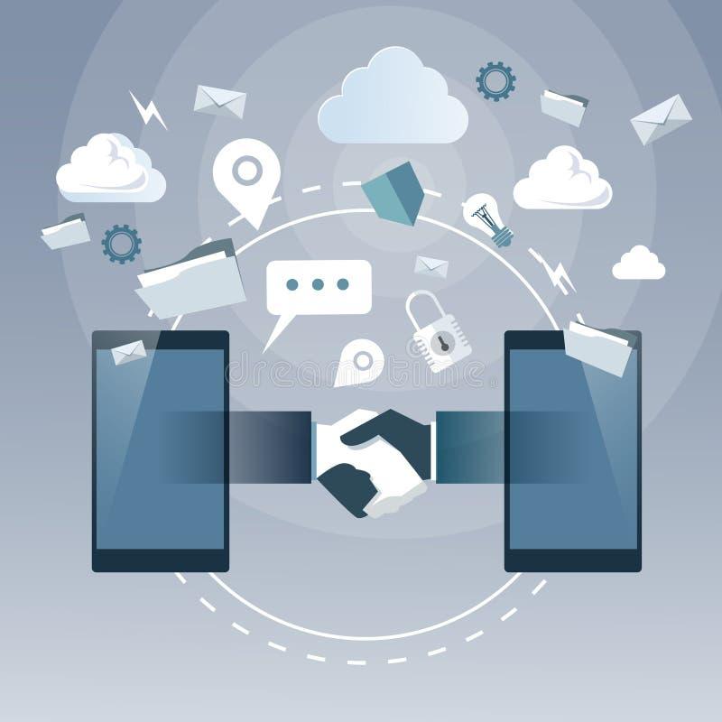 Επιχειρησιακή χειραψία από το έξυπνο τηλέφωνο κυττάρων, σε απευθείας σύνδεση συνδέσεις στο Διαδίκτυο Businesspeople διαπραγμάτευσ απεικόνιση αποθεμάτων