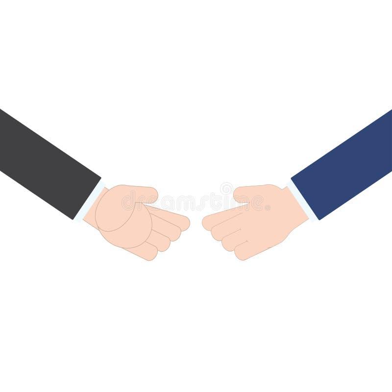 Επιχειρησιακή χειραψία επιχειρηματιών στο άσπρο υπόβαθρο, διανυσματική απεικόνιση στο επίπεδο σχέδιο διανυσματική απεικόνιση