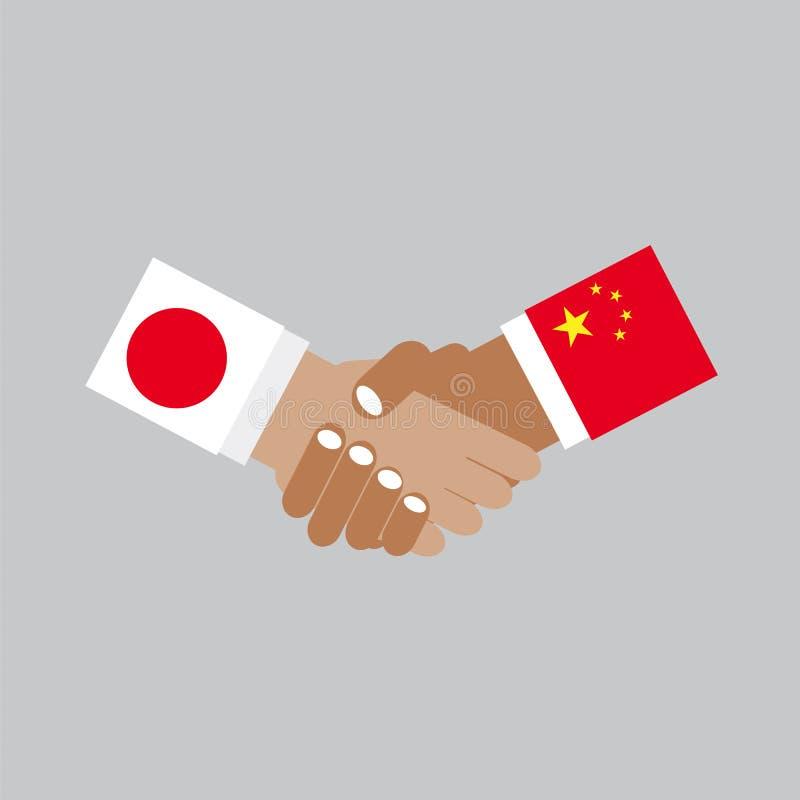 Επιχειρησιακή χειραψία Ιαπωνία και διάνυσμα της Κίνας διανυσματική απεικόνιση