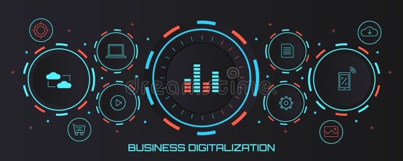 Επιχειρησιακή ψηφιακή αναλογική μεταλλαγή - ψηφιακή έννοια μετασχηματισμού Επίπεδο διανυσματικό έμβλημα σχεδίου διανυσματική απεικόνιση
