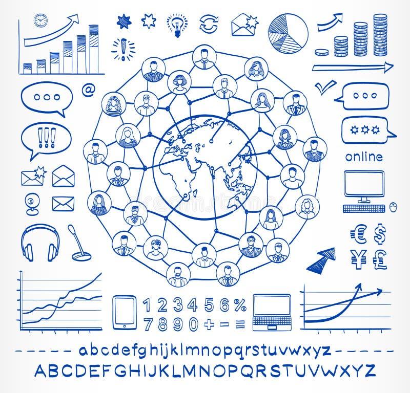 Επιχειρησιακή doodle έννοια των συνδέοντας ανθρώπων διανυσματική απεικόνιση