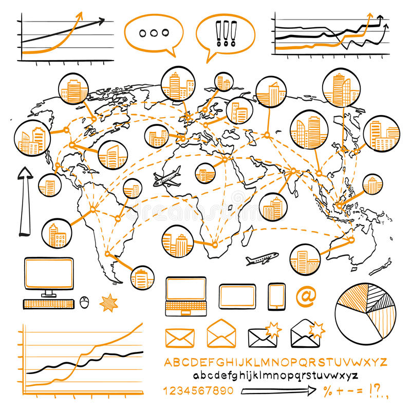 Επιχειρησιακή doodle έννοια διανυσματική απεικόνιση
