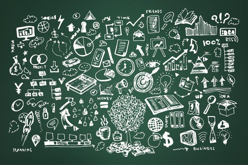 Επιχειρησιακή doodle διανυσματική απεικόνιση Εικονίδιο και συρμένα χέρι στοιχεία, εικονίδια κιμωλίας στον πράσινο πίνακα ελεύθερη απεικόνιση δικαιώματος