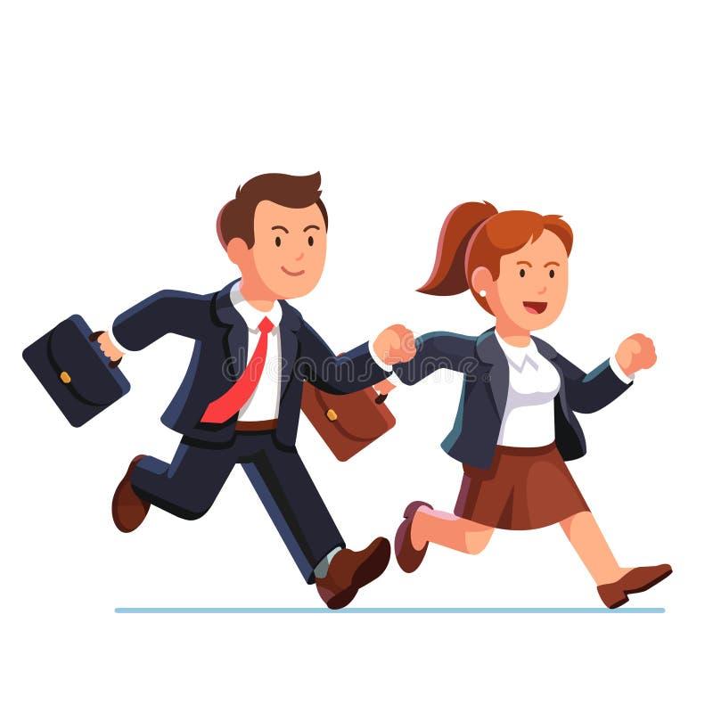Επιχειρησιακοί γυναίκα και άνδρας που τρέχουν γρήγορα από κοινού διανυσματική απεικόνιση