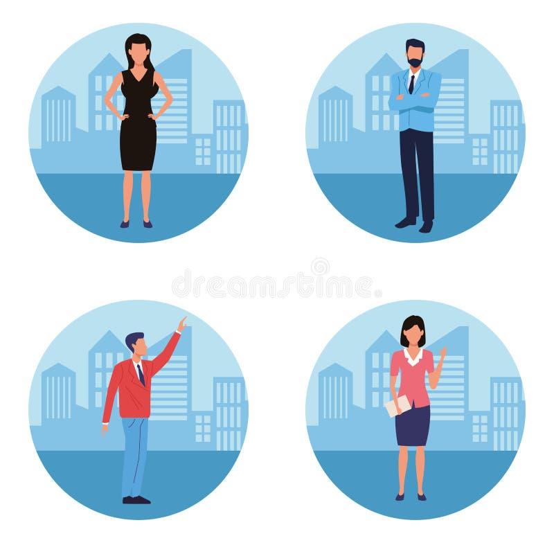 Επιχειρησιακοί εργαζόμενοι Exeutive γύρω από τα εικονίδια διανυσματική απεικόνιση