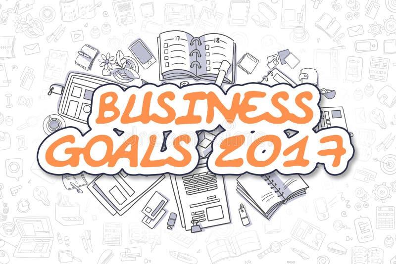 Επιχειρησιακοί στόχοι 2017 - Doodle το πορτοκαλί Word χρυσή ιδιοκτησία βασικών πλήκτρων επιχειρησιακής έννοιας που φθάνει στον ου διανυσματική απεικόνιση