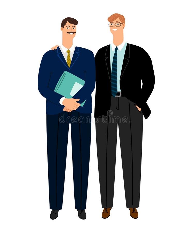 Επιχειρησιακοί συνάδελφοι, βέβαιοι συνεργάτες που απομονώνονται στο λευκό διανυσματική απεικόνιση